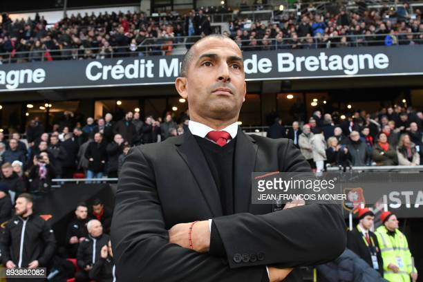 Rennes' French coach Sabri Lamouchi looks on during the French L1 football match between Rennes and Paris Saint Germain on December 16 at the Roazhon...