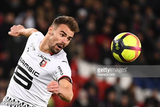 Rennes' French defender Damien Da Silva eyes the ball during the French L1 football match between Paris SaintGermain and Stade Rennais FC at the Parc...