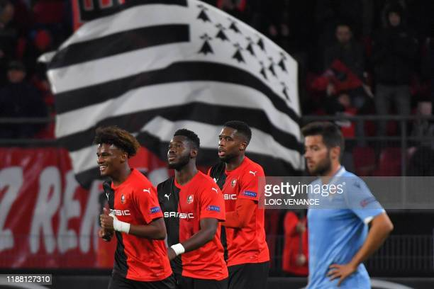 Rennes' French defender Joris Gnagnon celebrates after scoring a goal during the UEFA Europa League Group E football match between Stade Rennais...