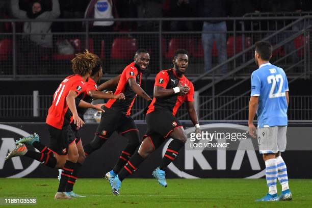 Rennes' French defender Joris Gnagnon celebrates after scoring his team's first goal during the UEFA Europa League Group E football match between...
