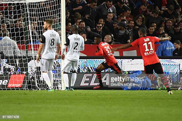 Rennes' French forward Adama Diakhaby celebrates after scoring a goal during the French L1 football match Rennes against Guingamp on September 30...