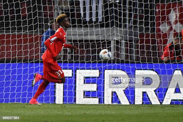 Rennes' French forward Adama Diakhaby celebrates after scoring during the French L1 football match between Rennes and Monaco on May 20 2017 at the...