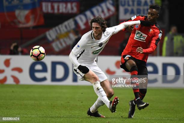 Rennes' French forward Adama Diakhaby vies with Paris SaintGermain's French midfielder Adrien Rabiot during the French Cup football match Rennes...