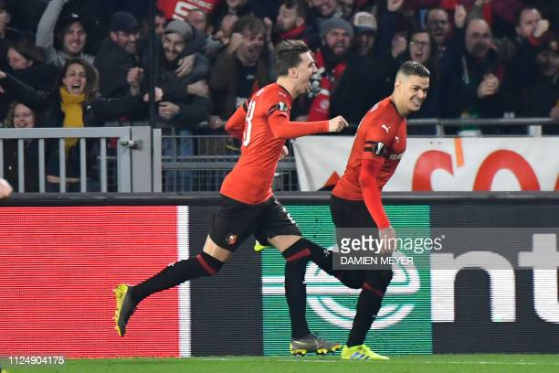 Rennes' French forward Hatem Ben Arfa celebrates after scoring a penalty kick during the UEFA Europa League round of 32 firstleg football match...