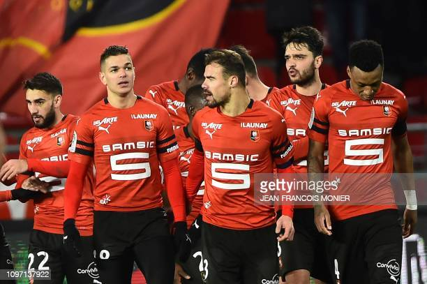 Rennes' French forward Hatem Ben Arfa reacts with his teammates after scoring a goal during the French L1 football match between Rennes and...