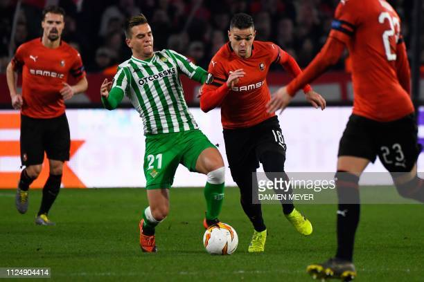 Rennes' French forward Hatem Ben Arfa vies for the ball with Real Betis' Spanish midfielder Giovanni Lo Celso during the UEFA Europa League round of...