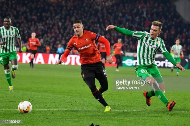 Rennes' French forward Hatem Ben Arfa vies with Real Betis' spanish midfielder Giovanni Lo Celso during the UEFA Europa League round of 32 firstleg...