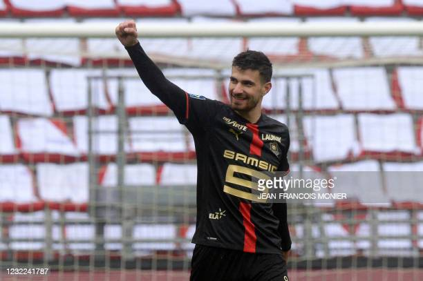 Rennes' French forward Martin Terrier reacts after scoring during the French L1 football match between Stade Rennais and FC Nantes at The Roazhon...