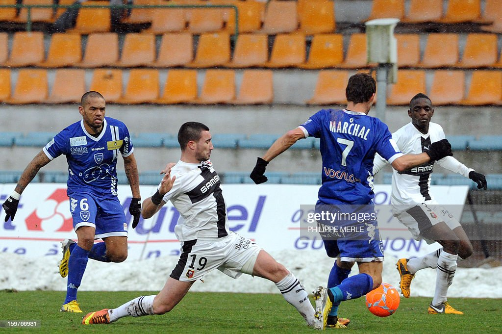 Rennes' French forward Romain Alessandrini (2nd L) vies for the ball with Bastia's French defender Sylvain Marchal (2nd R) during the French L1 football match between Bastia and Rennes, on January 20, 2013, at the Jean Laville stadium in Gueugnon.
