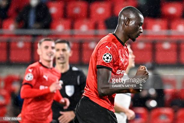 Rennes' French forward Sehrou Guirassy celebrates after scoring a penalty during the UEFA Europa League Group E first-leg football match between...