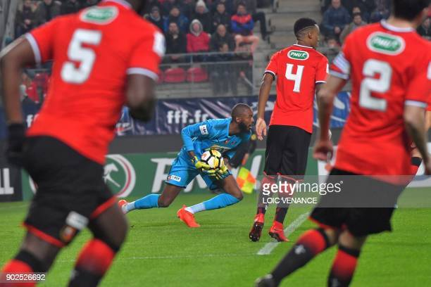 Rennes' French goalkeeper Abdoulaye Diallo grabs the ball during the French cup football match Rennes vs Paris SG at the Roazhon Park in Rennes on...