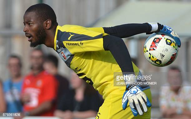 Rennes' French goalkeeper Abdoulaye Diallo holds the ball during the French L1 friendly football match between Stade Rennais FC and Angers on July 23...