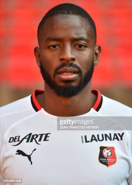 Rennes' French goalkeeper Abdoulaye Diallo poses after the official picture of 'Le Stade Rennais Football Club' on September 17 at the Roazhon Park...