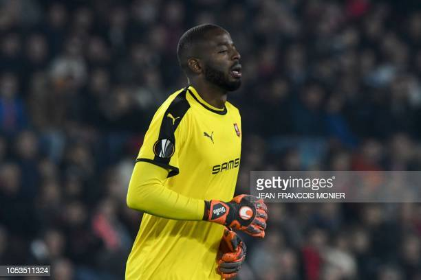 Rennes' French goalkeeper Abdoulaye Diallo reacts during the UEFA Europa League Group K firstleg football match between Rennes and Dynamo Kiev at...