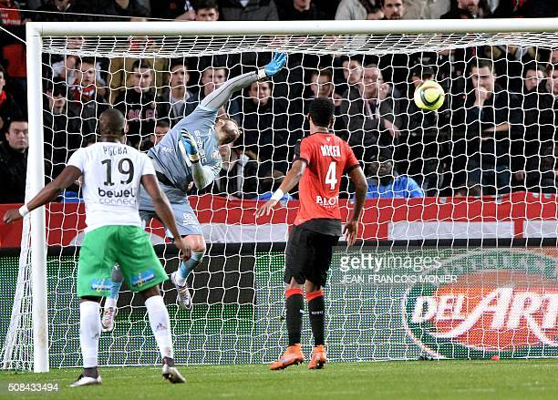 Rennes' French goalkeeper Benoit Costil takes a goal during the French L1 football match between Rennes and SaintEtienne on February 4 at the Roazhon...