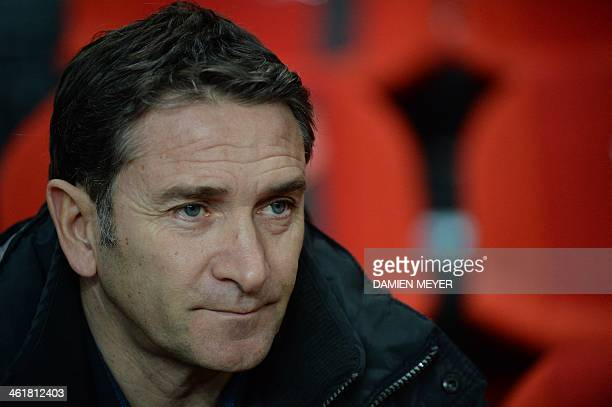 Rennes' French head coach Philippe Montanier is pictured during the French L1 football match Rennes against Nice on January 11 2014 at the route de...
