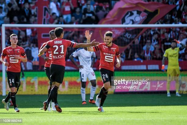 Rennes' French midfielder Benjamin Andre celebrates after scoring a goal during the French L1 football match Rennes vs Bordeaux, on September 2, 2018...