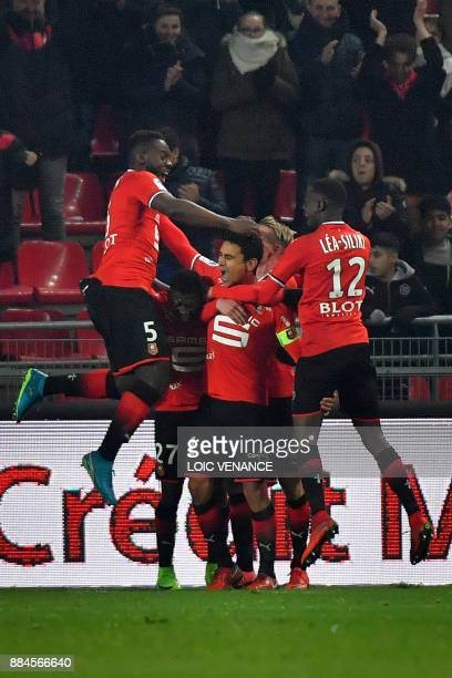 Rennes' French midfielder Benjamin Andre celebrates after scoring during the French Ligue 1 football match Rennes vs Amiens on December 2 2017 in...