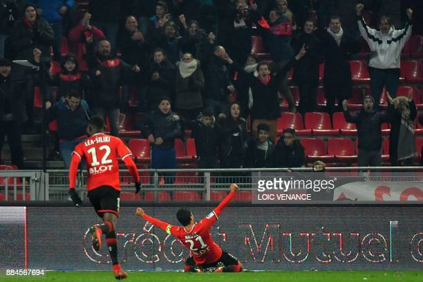 Rennes' French midfielder Benjamin Andre celebrates after scoring during the French L1 football match Rennes vs Amiens on December 2 2017 in Rennes...