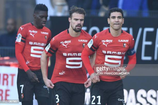Rennes' French midfielder Benjamin Andre reacts after scoring during the French L1 Football match between Rennes and Marseille , on February 24 at...