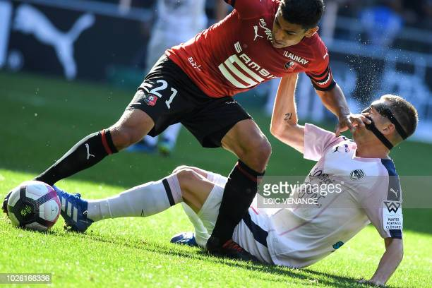 Rennes' French midfielder Benjamin Andre vies with Bordeaux's Danish midfielder Lukas Lerager during the French L1 football match Rennes vs Bordeaux,...