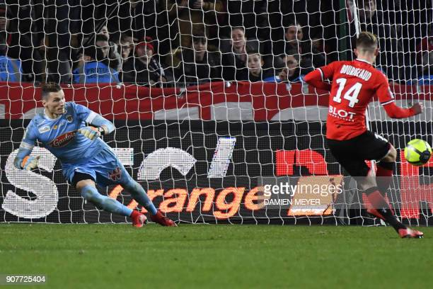 Rennes' French midfielder Benjamin Bourigeaud scores a penalty during the French L1 football match between Rennes and Angers on January 20 2018 at...