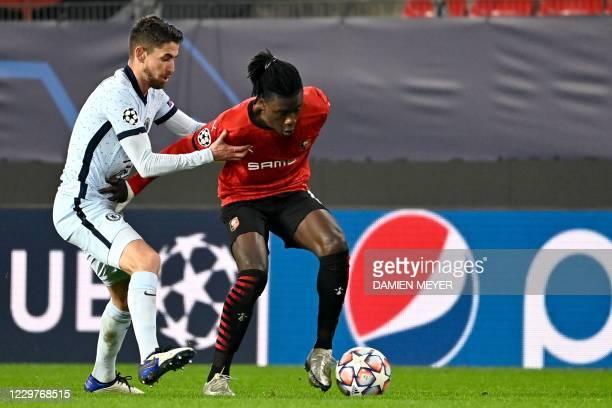 Rennes' French midfielder Eduardo Camavinga fights for the ball with Chelsea's Italian midfielder Jorginho during the UEFA Champions League Group E...