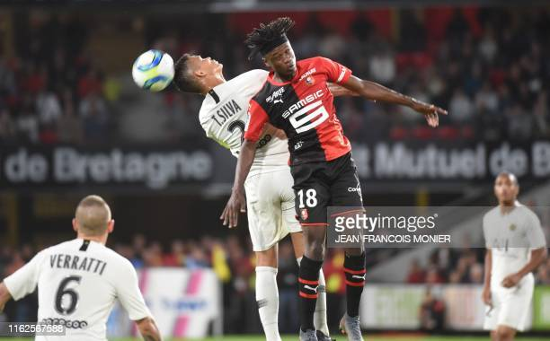 Rennes' French midfielder Eduardo Camavinga heads the ball during the French L1 football match between Rennes and Paris SaintGermain on August 18 at...
