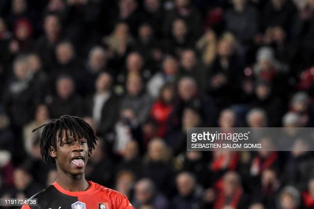 Rennes' French midfielder Eduardo Camavinga reacts during the French Cup football match between Rennes and Amiens on January 4 at the Roazhon Park in...