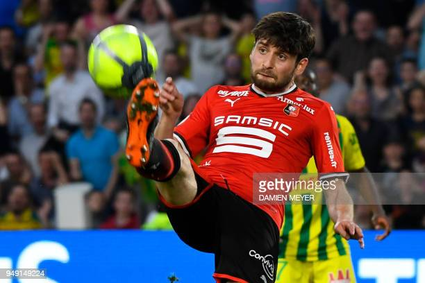 Rennes' French midfielder Sanjin Prcic controls the ball during the French L1 football match Nantes against Rennes on April 20 2018 at the La...