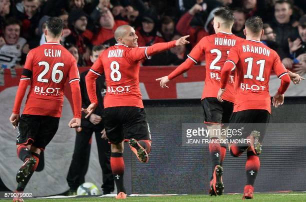 Rennes' French midfielder Wahbi Khazri reacts after scoring his second goal during the French L1 football match between Stade Rennais and Nantes at...