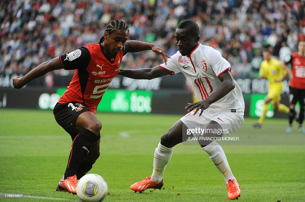 Rennes' French midfielder Wesley Said (L) vies with Lille's Senegalese midfielder Idrissa Gueye (R) during the French L1 football match Rennes (SRFC) vs Lille (LOSC) on August 31, 2013 at the Route de Lorient stadium in Rennes, western France.