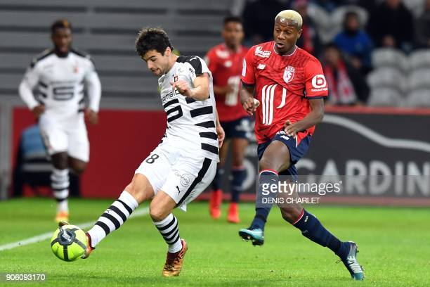 Rennes' French midfielder Yoann Gourcuff outruns Lille's Moroccan defender Hamza Mendyl during the French L1 football match between Lille and Rennes...