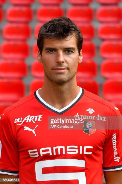 Rennes' French midfielder Yoann Gourcuff poses during the official presentation of the French L1 football Club Stade Rennais FC on September 19 2017...