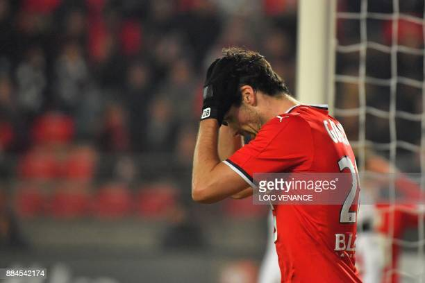 Rennes' French midfielder Yoann Gourcuff reacts during the French L1 football match Rennes vs Amiens on December 2 2017 in Rennes western France /...
