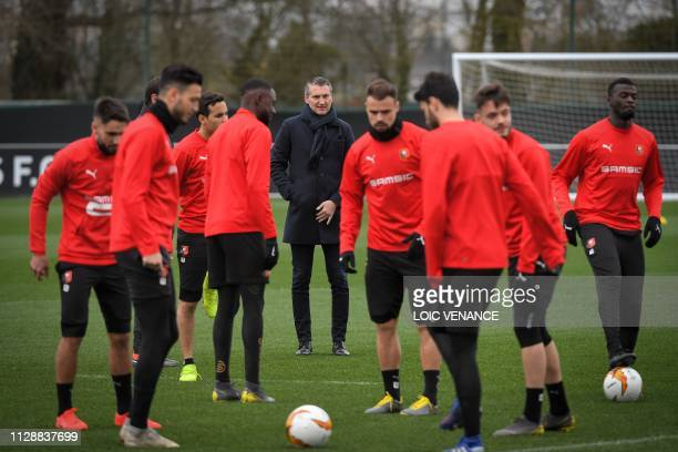 Rennes' French president Olivier Letang attends a training session on March 6, 2019 at the Pivardiere training center in Rennes, western France, on...