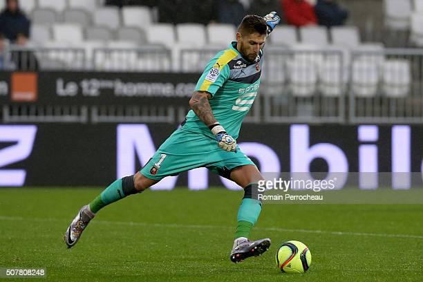 Rennes goalkeeper Benoit Costil in action during the French Ligue 1 match between FC Girondins de Bordeaux and Stade Rennais at Stade Matmut...