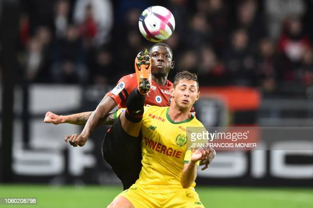 Rennes' Malian defender Hamari Traore vies with Nantes' Argentine forward Emiliano Sala during the French L1 Football match between Rennes and Nantes...