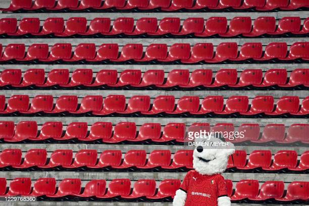Rennes' mascot Erminig stands amid empty stands during the UEFA Champions League Group E football match between Stade Rennais FC and Chelsea FC at...