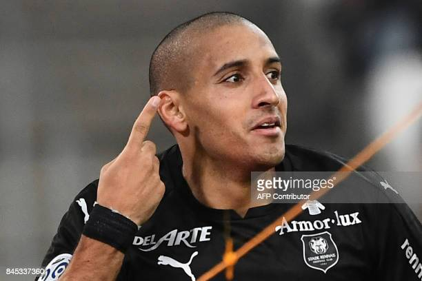 Rennes' midfielder Wahbi Khazri celebrates after scoring during the French L1 football match Olympique of Marseille versus Stade Rennais FC at the...