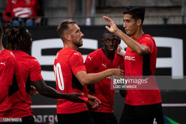 Rennes' Moroccan defender Nayef Aguerd celebrates after scoring during the Conference Europa league football match between Rennes and Rosenborg at...