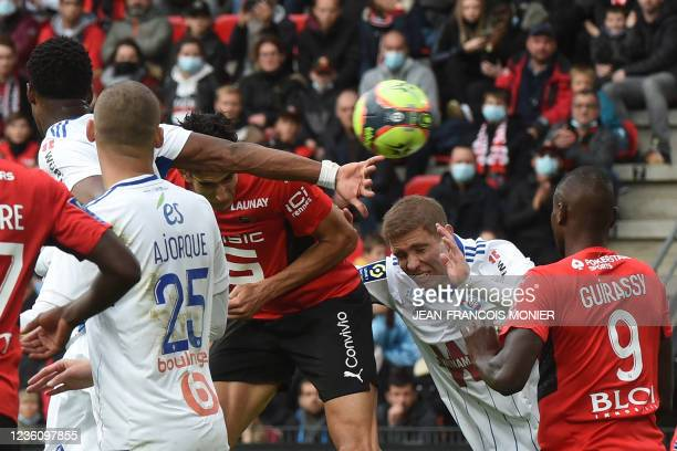 Rennes' Moroccan defender Nayef Aguerd scores a goal during the French L1 football match between Stade Rennais FC and RC Strasbourg at The Roazhon...