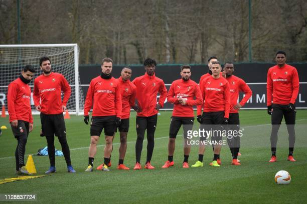 Rennes' players attend a training session on March 6, 2019 at the Pivardiere training center in Rennes, western France, on the eve of the Europa...