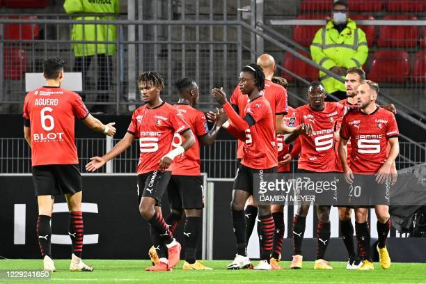Rennes' players celebrate after scoring a goal during the French L1 football match between Stade Rennais and Angers, at the Roazhon Park stadium in...