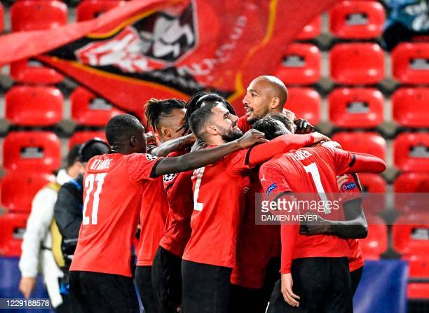 Rennes' players celebrate French forward Sehrou Guirassy's penalty during the UEFA Europa League Group E first-leg football match between Stade...