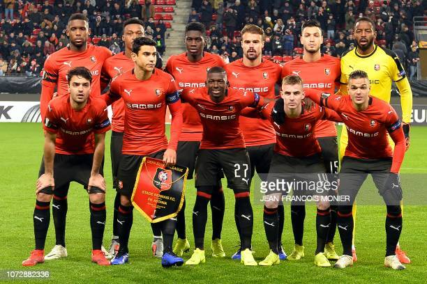 Rennes' players pose before the UEFA Europa League Group K football match between Stade Rennais Football Club and FC Astana at the Roazhon Park, in...