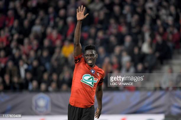 Rennes' Senegalese forward Ismaila Sarr gestures during the French Cup quarterfinal football match between Stade Rennais FC and US Orleans Loiret...
