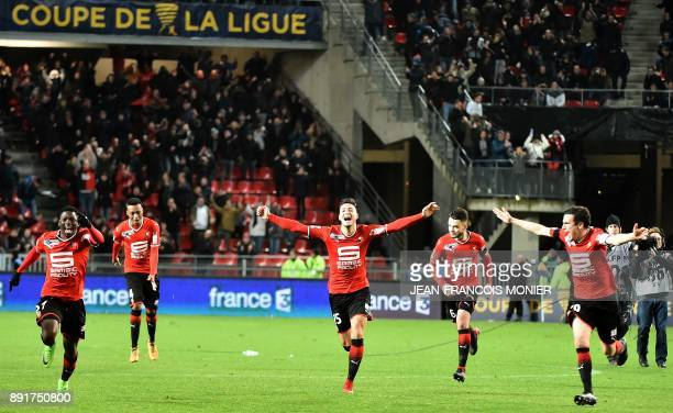 Rennes' Senegalese forward Ismaila Sarr Rennes' Malian defender Hamari Traore Rennes' French defender Joris Gnagnon Rennes' French midfielder Jeremy...