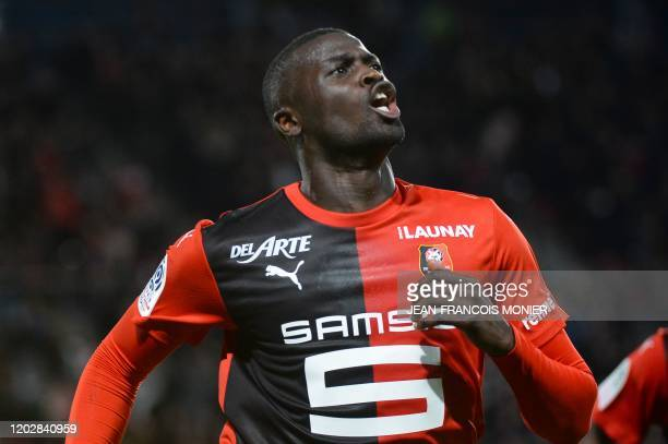 Rennes' Senegalese forward Mbaye Niang reacts after scoring his team's second goal during the French L1 Football match between Stade Rennais Football...