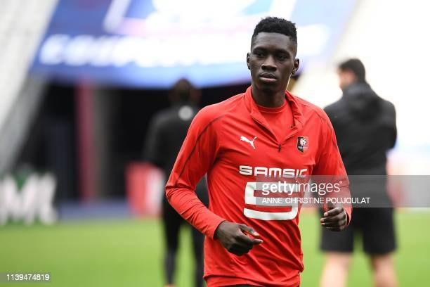 Rennes' Senegalese midfielder Ismaila Sarr takes part in training session at the Stade de France in SaintDenis north of Paris on April 26 on the eve...